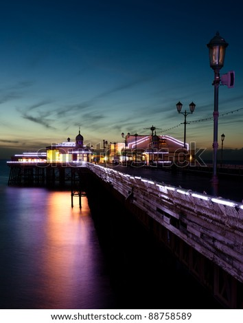 Blackpool North Pier at dusk - stock photo