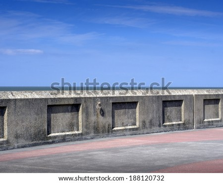 Blackpool  promenade wall - stock photo