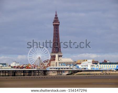Blackpool tower and Beach - stock photo