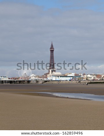 Blackpool tower and Central pier - stock photo