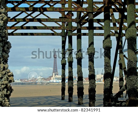 Blackpool Tower from Central pier - stock photo