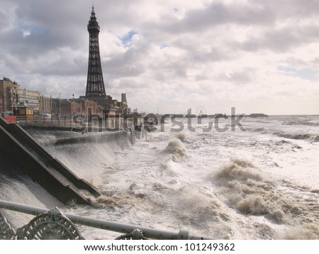 Blackpool tower from North pier - stock photo