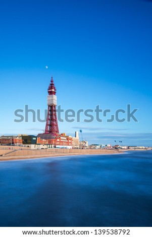 Blackpool Tower, from the North Pier, Lancashire, England, UK - stock photo