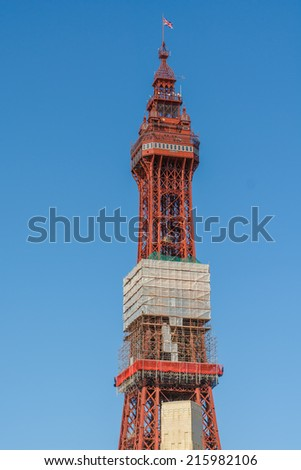 Blackpool Tower showing repair work taking place during 2014 - stock photo