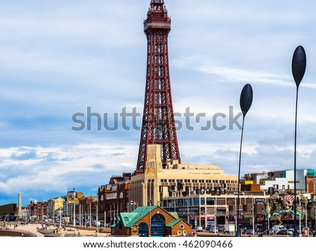 BLACKPOOL, UK - CIRCA JUNE 2016: Blackpool Tower on Blackpool Pleasure Beach resort amusement park on the Fylde coast - high dynamic range