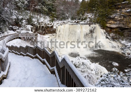 Blackwater Falls in West Virginia in Winter - stock photo