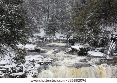 Blackwater River in West Virginia in Winter - stock photo
