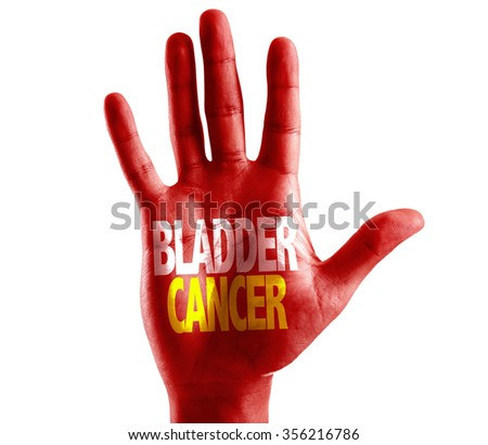 Bladder Cancer written on hand isolated on white background - stock photo