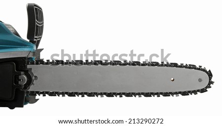 blade of a chainsaw isolated against background - stock photo
