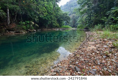 Bladen River in the Bladen Nature Reserve, Toledo, Belize - stock photo