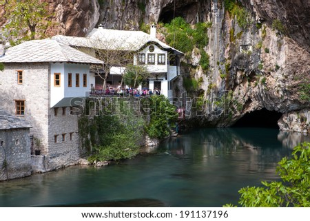 BLAGAJ, BOSNIA AND HERZEGOVINA - April 19, 2014 - Dervish house in Blagaj, near the Mostar, Bosnia and Herzegovina.