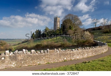 Blagdon church in Somerset England - stock photo