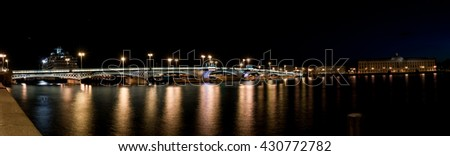 Blagoveshchensky (Leuteinant Schmidt) bridge in St.Petersburg, Russia. Wide  night view from English embankment.