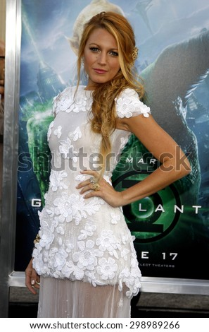 Blake Lively at the Los Angeles premiere of 'Green Lantern' held at the Grauman's Chinese Theatre in Hollywood on June 15, 2011.   - stock photo