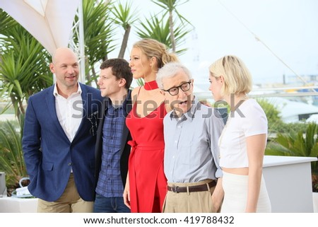Blake Lively , Kristen Stewart, Woody Allen attend the 'Cafe Society' Photocall during The 69th Annual Cannes Film Festival on May 11, 2016 in Cannes, France. - stock photo
