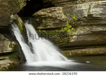 Blanchard Springs Waterfall in Ozark National Forest mountains - stock photo