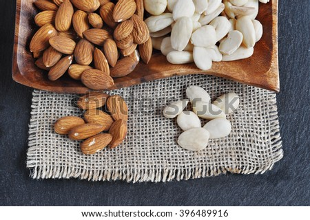 Blanched Almond and Peeled almonds - stock photo