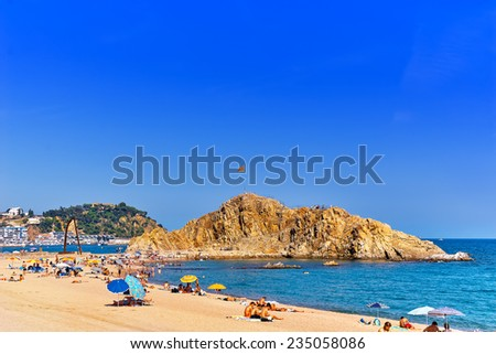 BLANES , SPAIN - AUGUST 29: Seafront, beach,coast in Blanes ,Suburb of Barcelona.  September 29, 2008 in Blanesl, Spain,Catalonia. The most beautiful and visited the coast of Spain.
