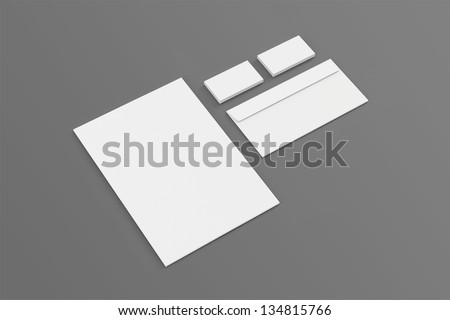 Blank A4 paper, Business cards, Envelopes / Stationary, Corporate identity template on grey background with soft shadows - stock photo