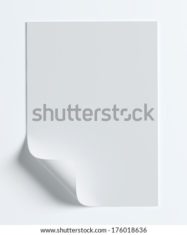 Blank A4 paper page with curl isolated on white with soft shadows. - stock photo