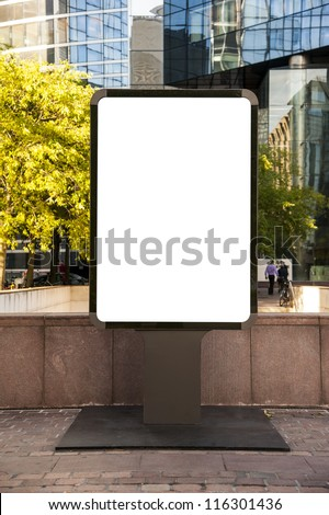 Blank advertising billboard in a place in paris - stock photo