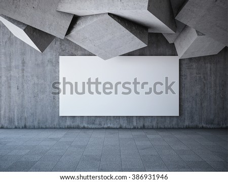 Blank advertising billboard in hall with elements of the concrete cubes - stock photo
