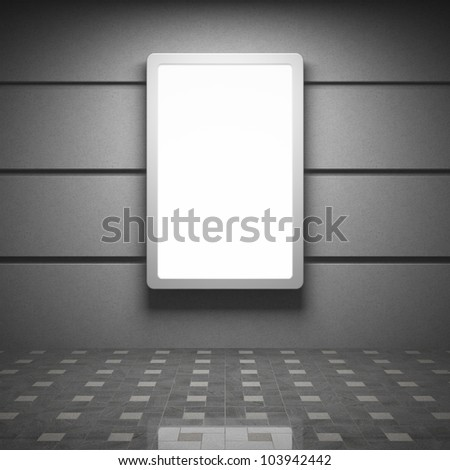 Blank advertising billboard in interior