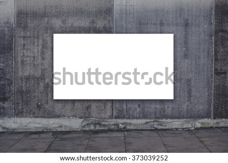 Blank advertising billboard on concrete wall as copy space for outdoor poster ad mock up. - stock photo