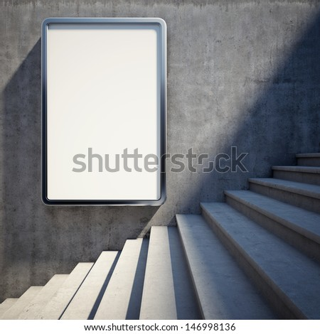 Blank advertising billboard on concrete wall with steps up - stock photo