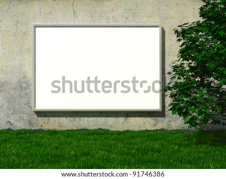 Blank advertising billboard on concrete wall with tree on lawn
