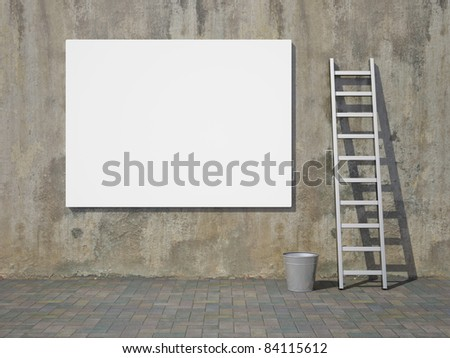Blank advertising billboard on dirty grunge wall - stock photo