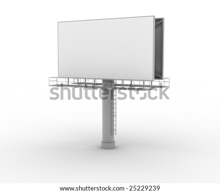 Blank advertising board on white. Digitally generated image.