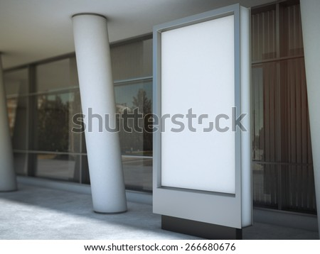 Blank advertising panel. 3d rendering - stock photo