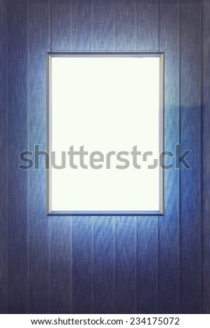 Blank advertising panel in a window - stock photo