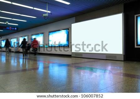 blank advertising screen in shanghai subway station - stock photo