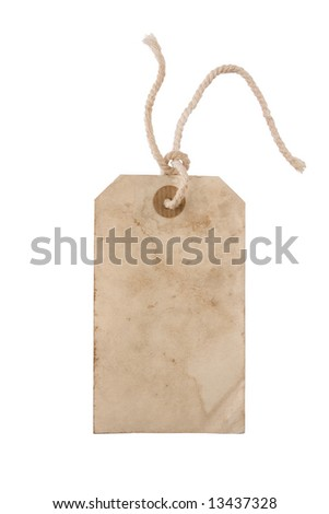 Blank aged paper hang tag with a string - stock photo