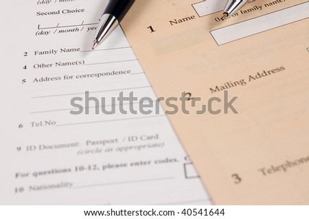 """Blank agreement with pencils, focus on word """"name"""" - stock photo"""