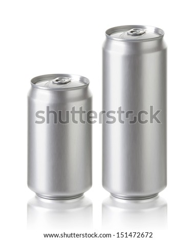 Blank aluminum cans, Realistic photo image 330 and 500 ml. Silver can with copy space, ideal for beer, lager, alcohol, soft drink, soda, lemonade, cola, energy drink, juice, water etc. - stock photo