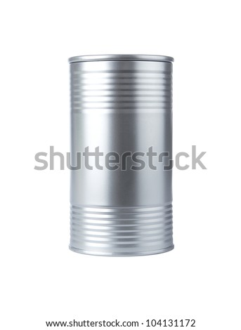 Blank aluminum food can isolated on white background - stock photo