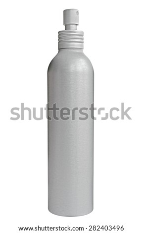 Blank aluminum spray bottle isolated on white. Clipping path included. - stock photo