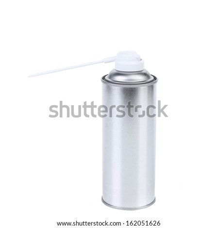 Blank aluminum spray paint can. Isolated on a white background. - stock photo