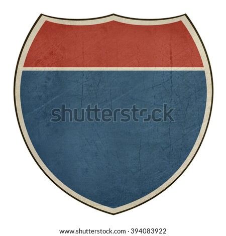 Blank American interstate highway road shield isolated on a white background. - stock photo