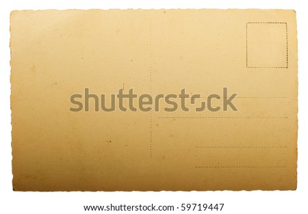 blank ancient post card isolated on white