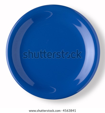blank and empty blue dish over white background with shadow - stock photo