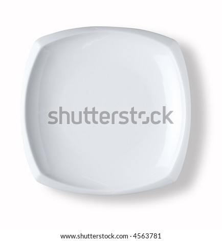 blank and empty squared dish over white background with shadow - stock photo