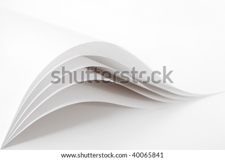 Blank and empty white paper sheet like waves isolated on a white background