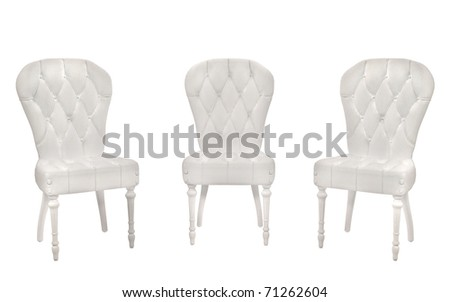 Blank armchairs on the white background. Chairs. - stock photo