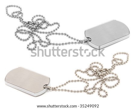 blank army dog tags isolated on white background - insert your own name or message - stock photo
