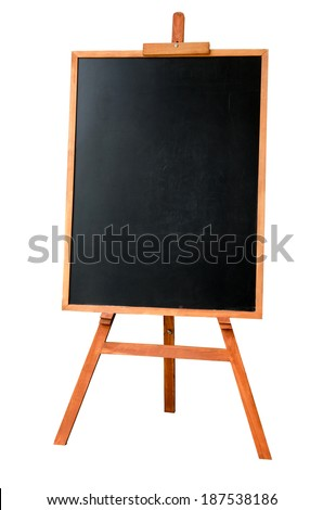 Blank art board, wooden easel, front view, isolated on white background - stock photo