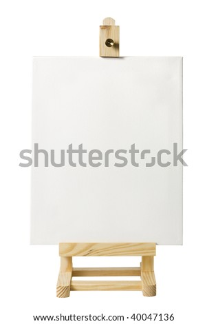 blank artist's canvas on small wooden easel isolated on white - place your own artwork - stock photo